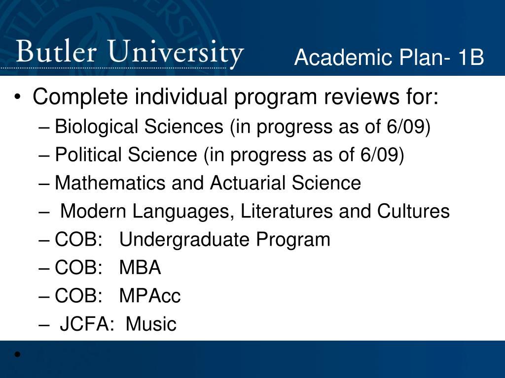 Academic Plan- 1B