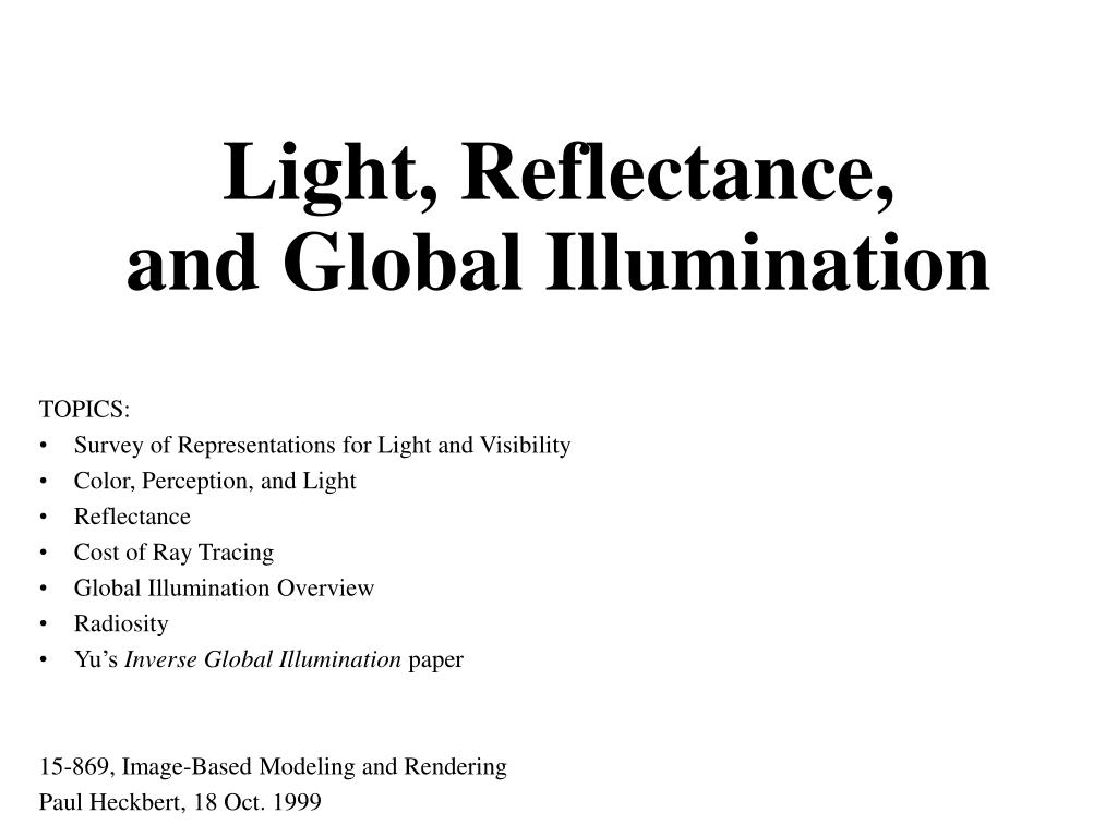 light reflectance and global illumination