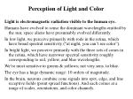 perception of light and color