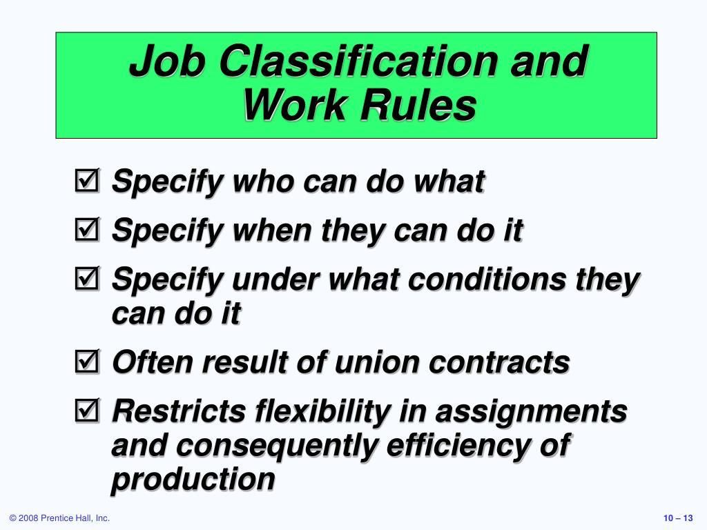 Job Classification and