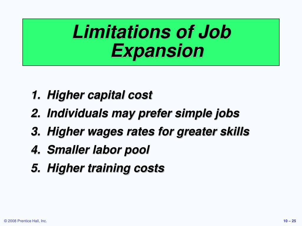 Limitations of Job Expansion