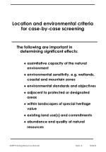 location and environmental criteria for case by case screening