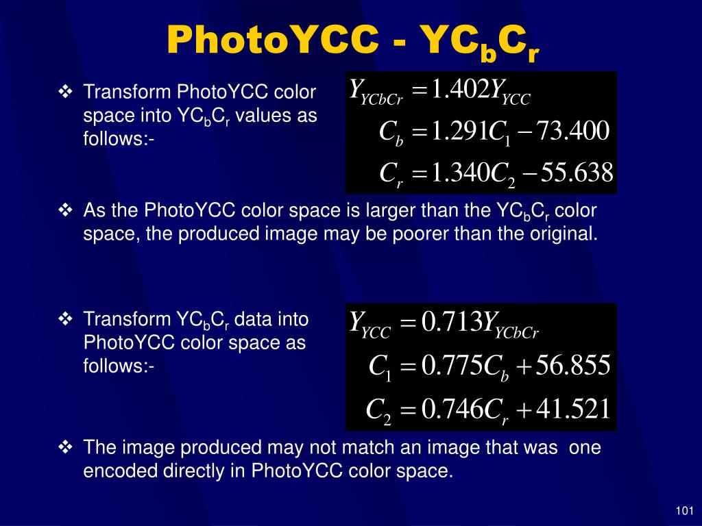Transform PhotoYCC color space into YC