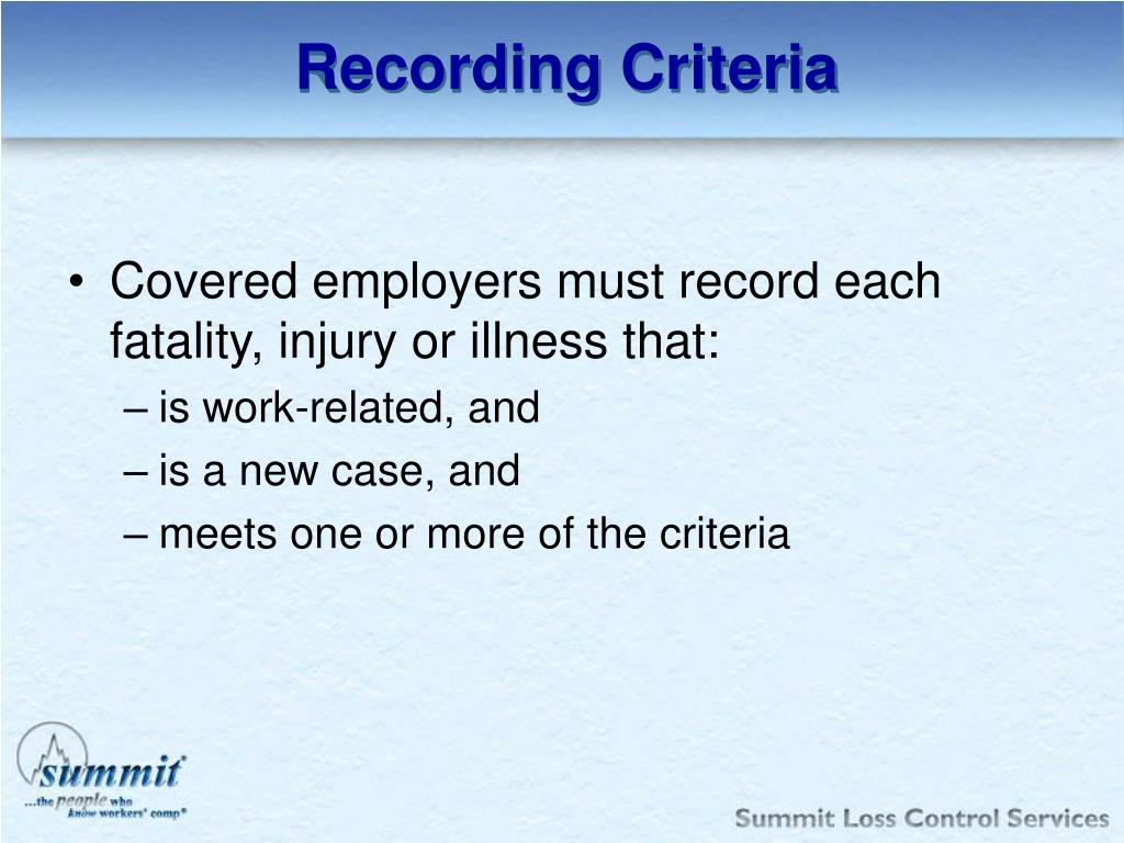 Recording Criteria