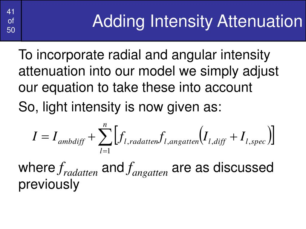 Adding Intensity Attenuation