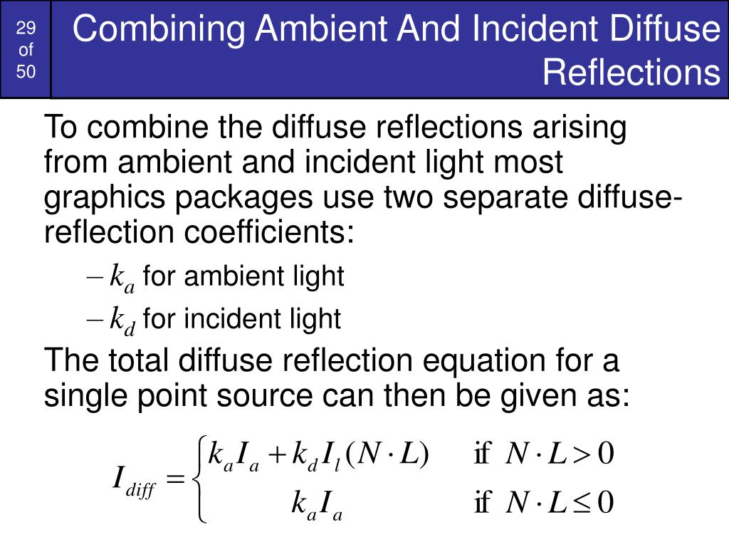 Combining Ambient And Incident Diffuse Reflections