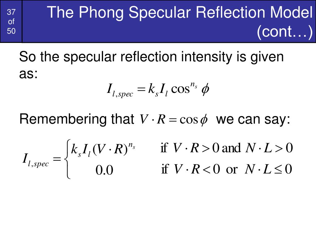 The Phong Specular Reflection Model (cont…)