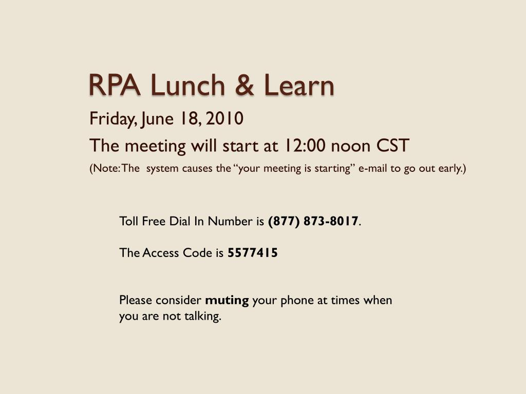 rpa lunch learn l.