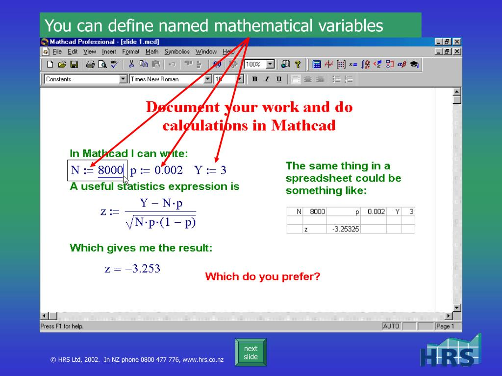 You can define named mathematical variables