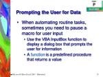 prompting the user for data