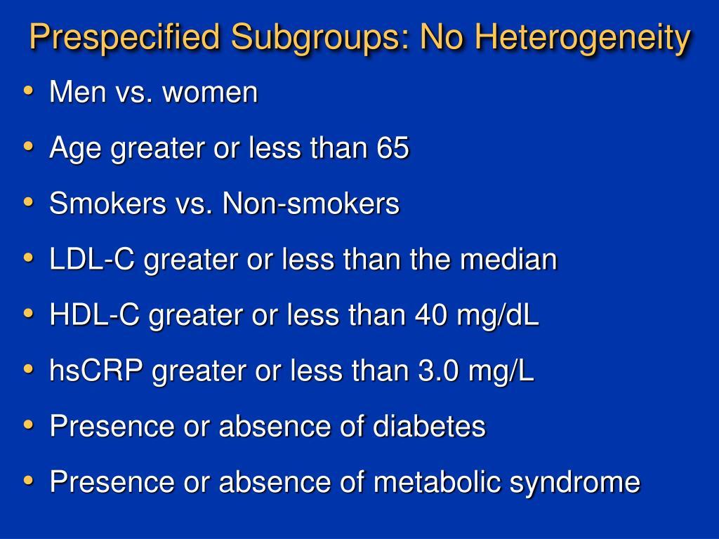 Prespecified Subgroups: No Heterogeneity