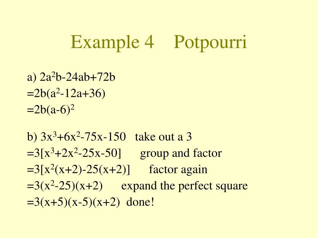 Example 4    Potpourri