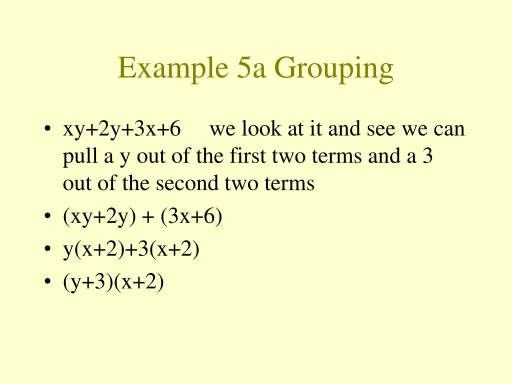 Example 5a Grouping