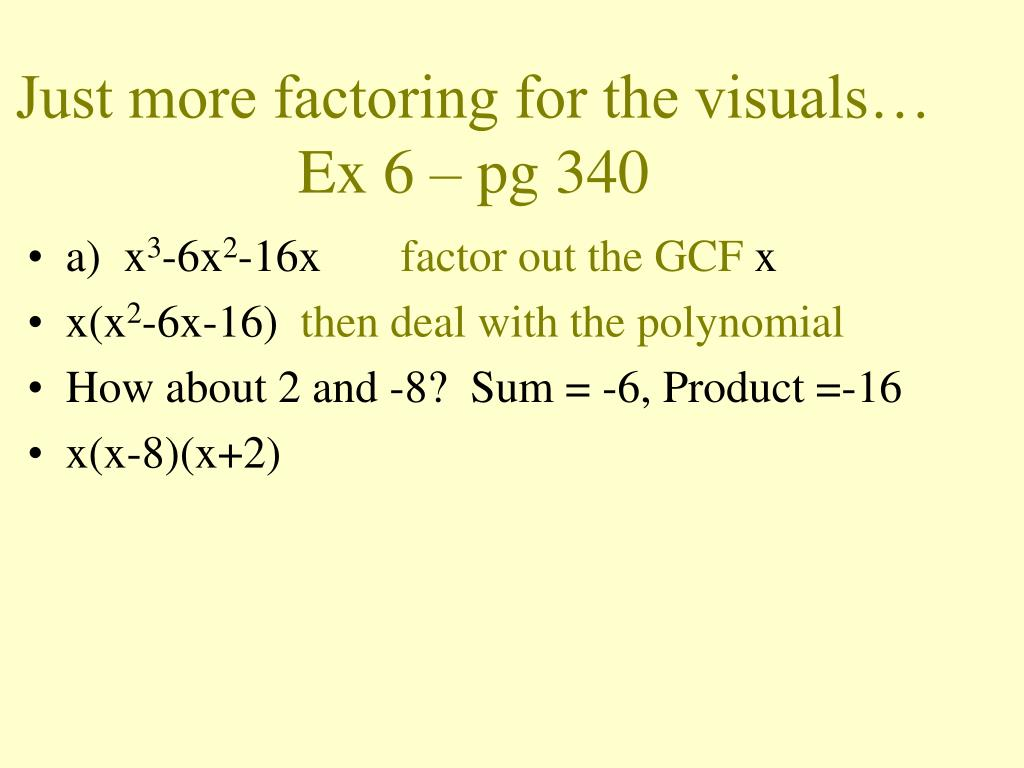 Just more factoring for the visuals…
