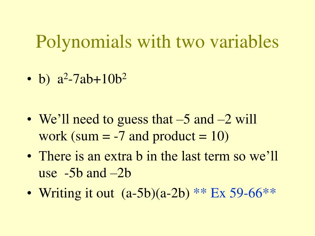 Polynomials with two variables