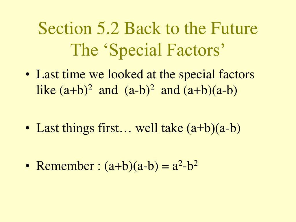 Section 5.2 Back to the Future