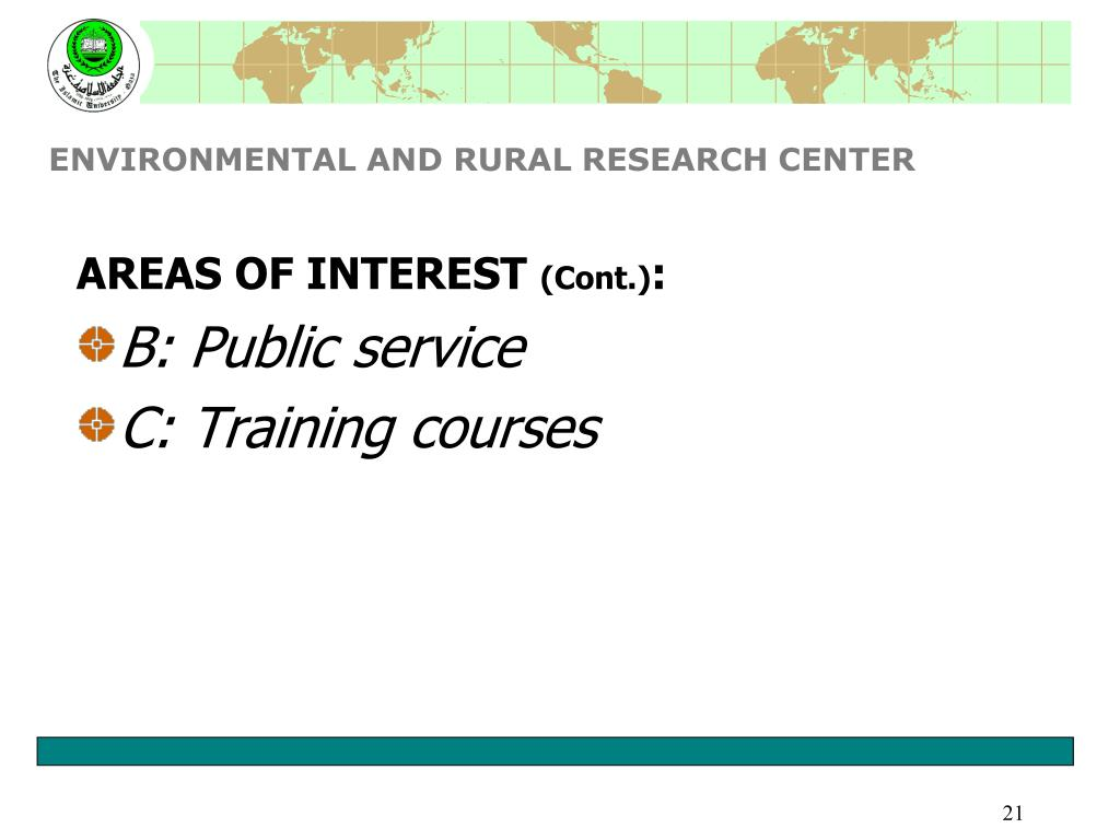 ENVIRONMENTAL AND RURAL RESEARCH CENTER