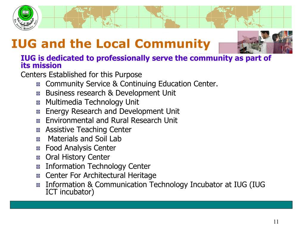 IUG and the Local Community