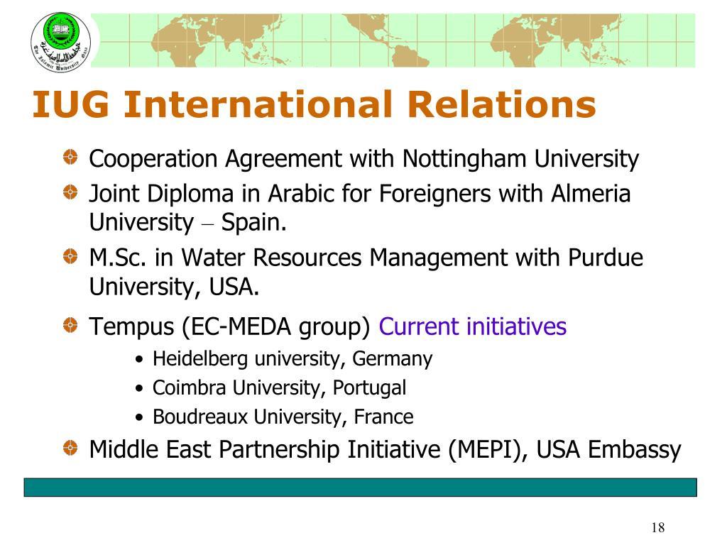 IUG International Relations