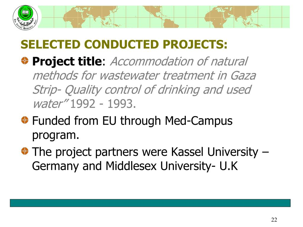 SELECTED CONDUCTED PROJECTS: