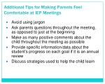 additional tips for making parents feel comfortable at iep meetings