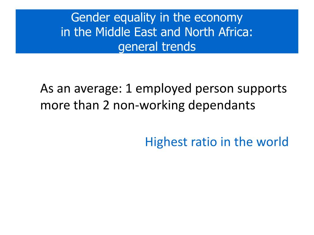 Gender equality in the economy