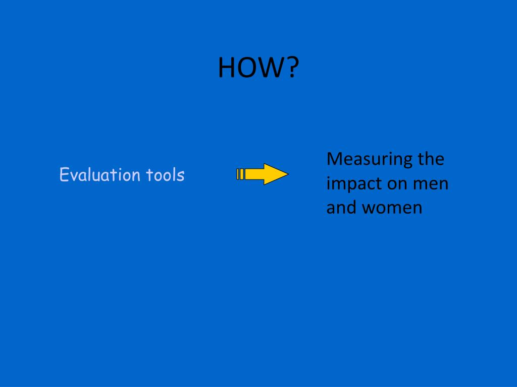 Measuring the impact on men and women