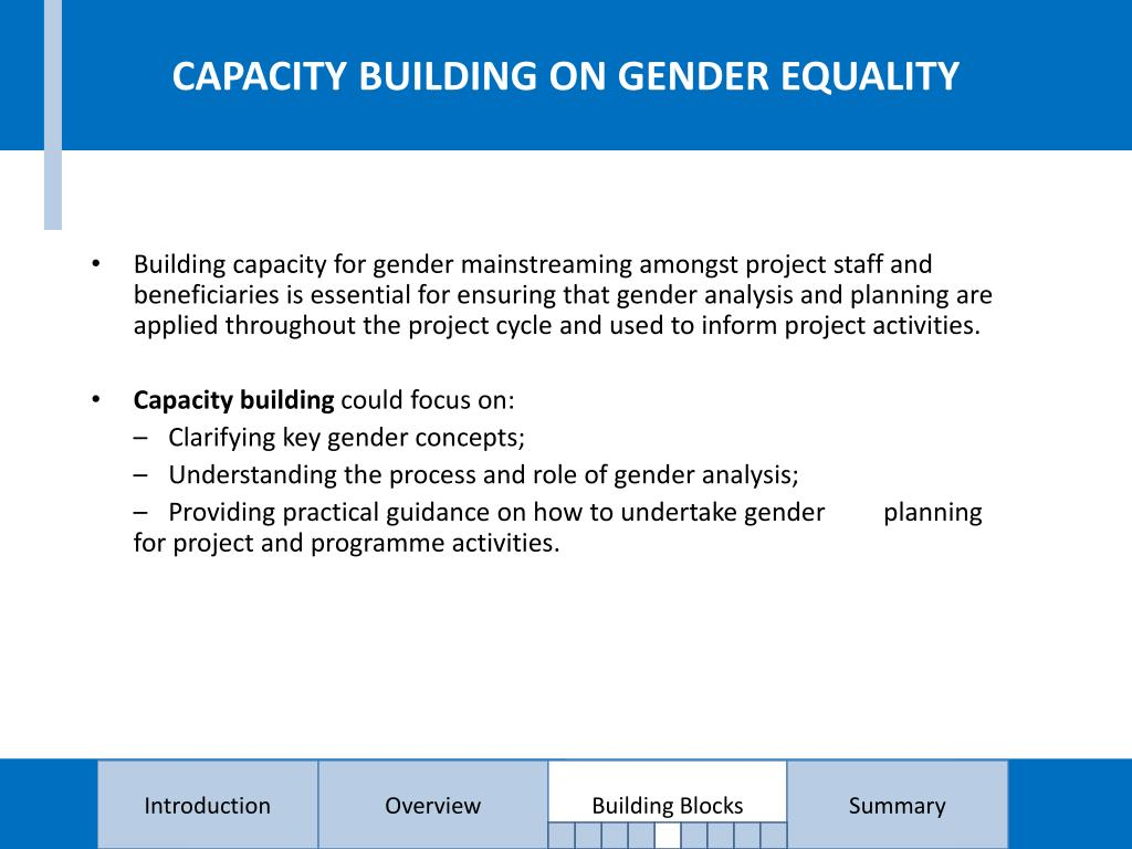 CAPACITY BUILDING ON GENDER EQUALITY