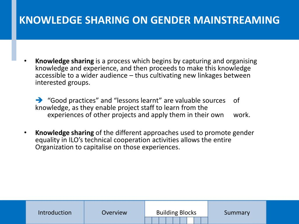 KNOWLEDGE SHARING ON GENDER MAINSTREAMING