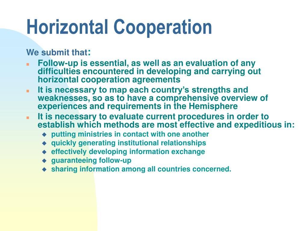 Horizontal Cooperation
