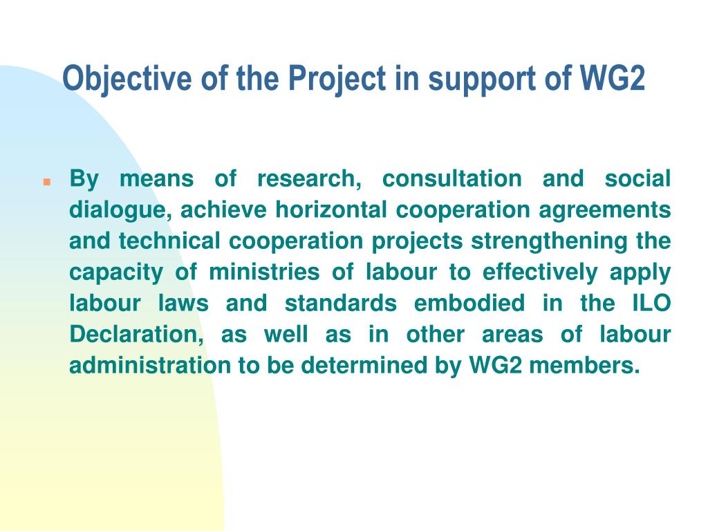 Objective of the Project in support of WG2