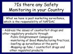 is there any safety monitoring in your country