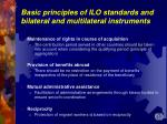 basic principles of ilo standards and bilateral and multilateral instruments12