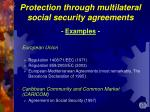 protection through multilateral social security agreements examples