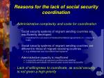 reasons for the lack of s ocial security coordination