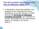 the ilo position on safety in the use of asbestos sept 2010