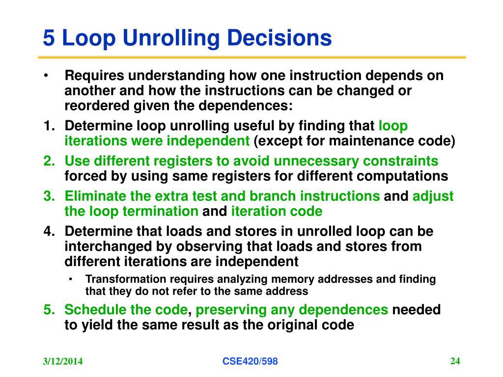 5 Loop Unrolling Decisions