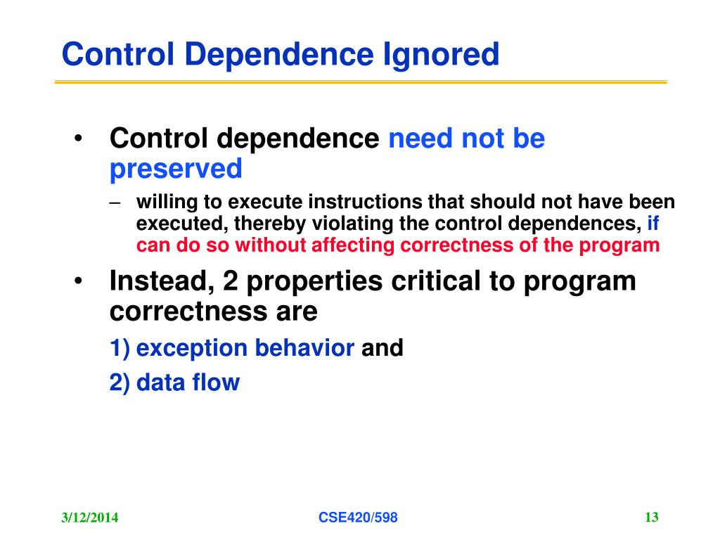 Control Dependence Ignored