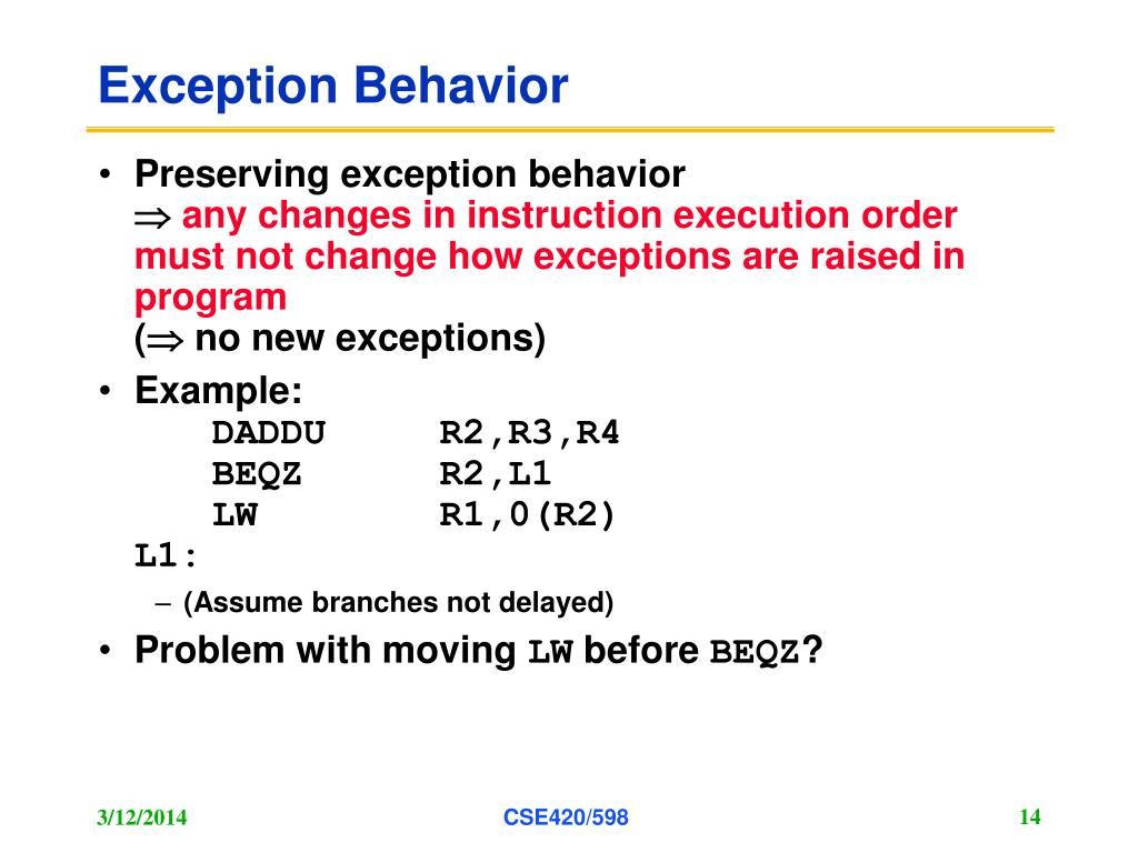 Exception Behavior