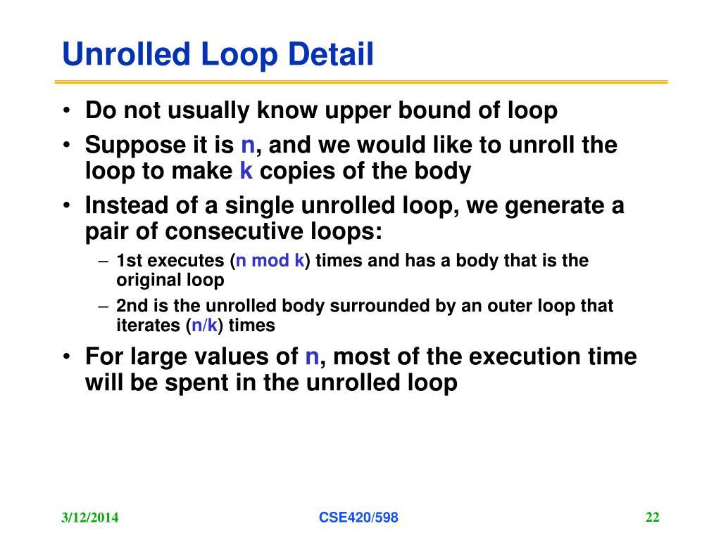 Unrolled Loop Detail