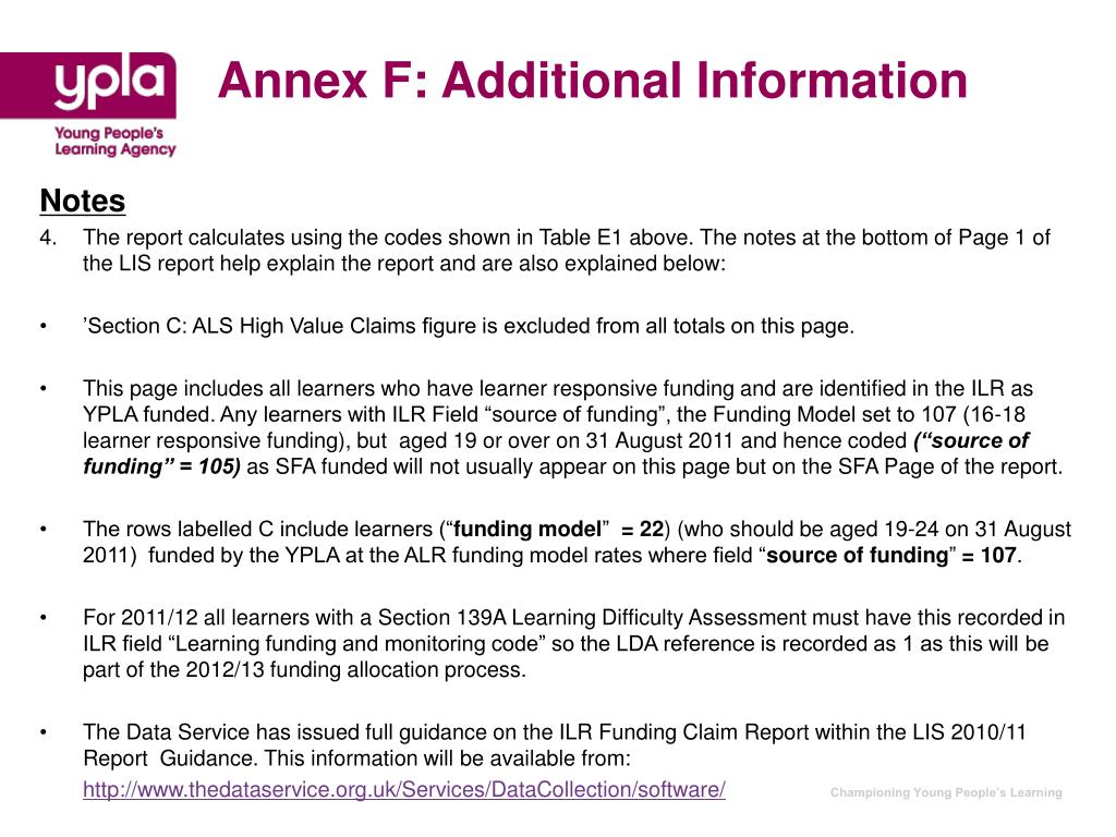 Annex F: Additional Information