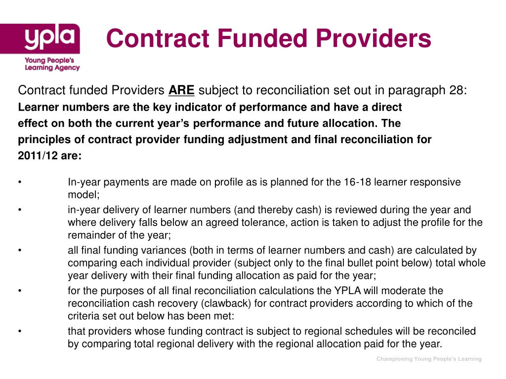 Contract Funded Providers