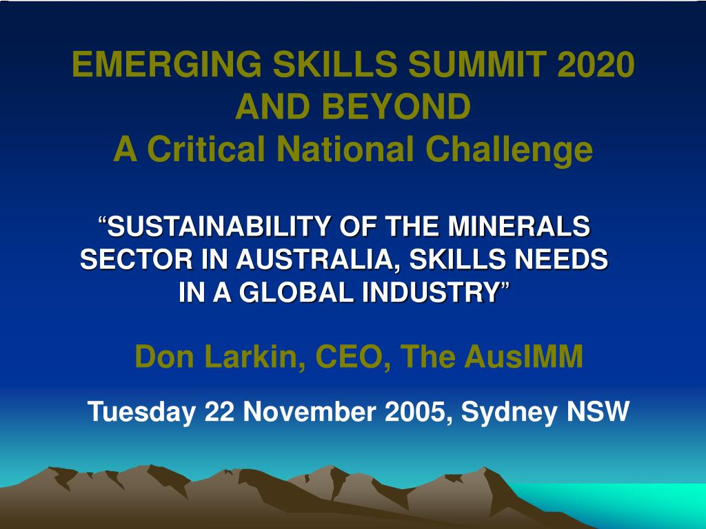 emerging skills summit 2020 and beyond a critical national challenge