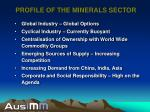 profile of the minerals sector