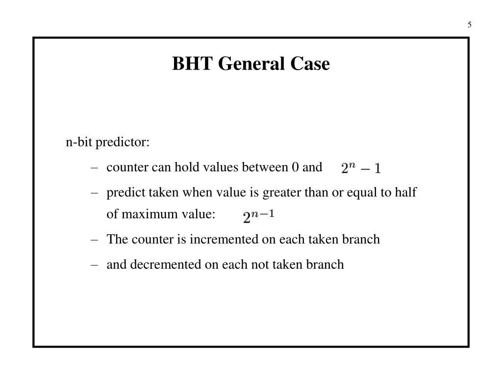 BHT General Case