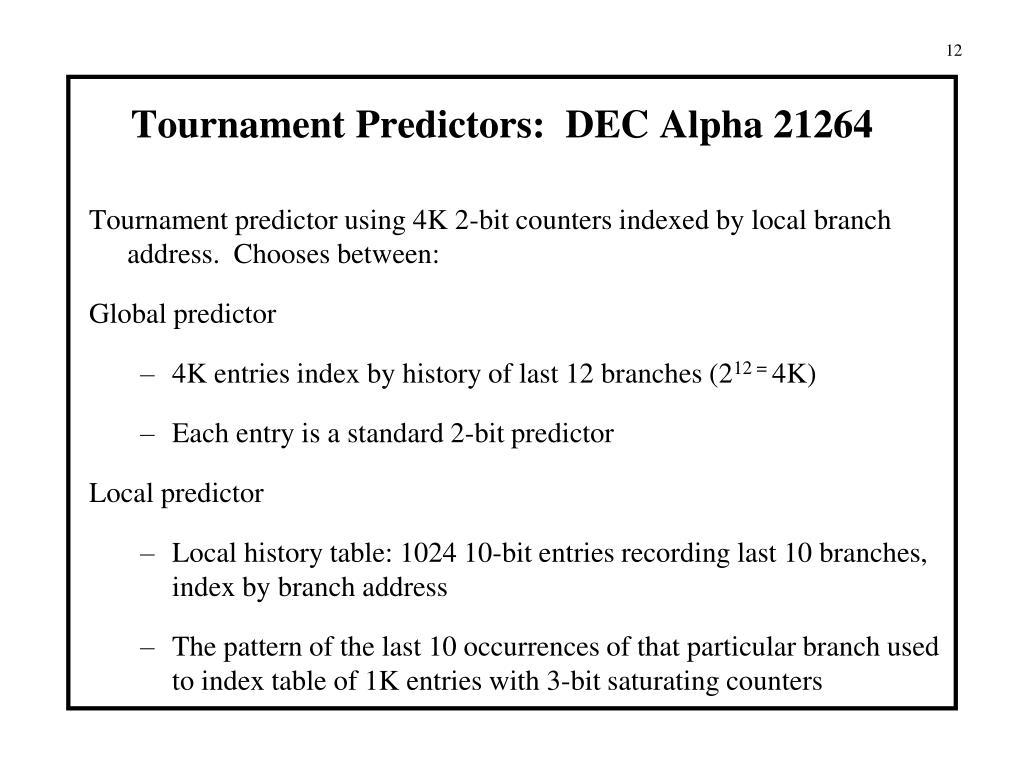 Tournament Predictors:  DEC Alpha 21264