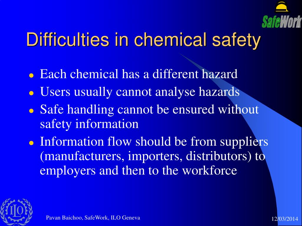 Difficulties in chemical safety