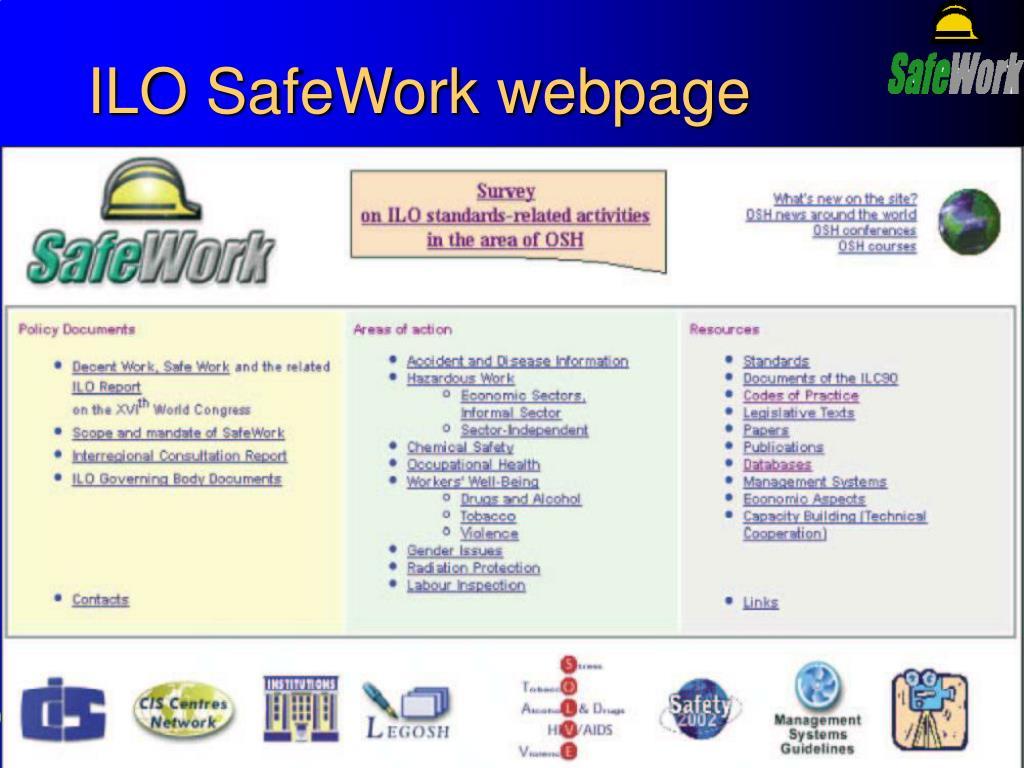 ILO SafeWork webpage
