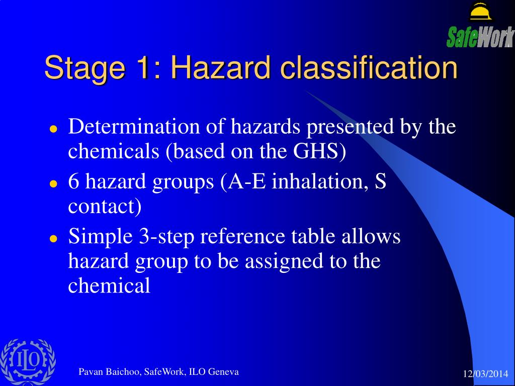 Stage 1: Hazard classification