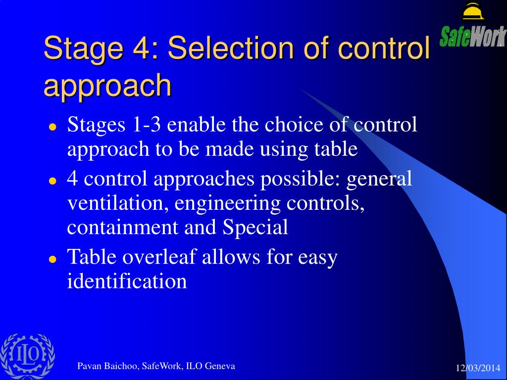 Stage 4: Selection of control approach
